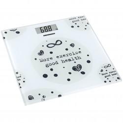Cantar de persoane Heinner HBS-150MSJ, 150kg, sticla securizata 6mm, 30 x 30 cm, display lcd, Alb