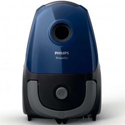 Aspirator cu sac Philips PowerGo FC8240/09, 750 W, 3 L, filtru anti-alergeni, accesorii integrate, Albastru